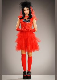 Womens Plus Size Beetlejuice Style Lydia Red Bride Costume