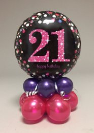Black And Pink 21st Birthday Balloon Centrepiece