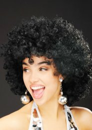 Womens 1970s Disco Black Afro Wig