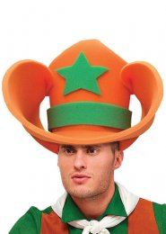 Funny XL Orange Foam Jumbo Cowboy Hat