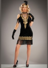Womens 1920s Black and Gold Flapper Girl Costume