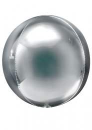 Inflated Jumbo Metallic Silver Orbz Sphere Helium Balloon