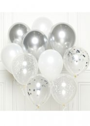 White and Silver DIY Latex Balloon Party Kit