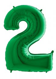Large Green Number 2 Inflated Helium Balloon on Weight