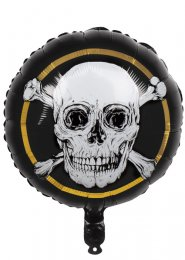 Inflated Black Skull Pirate Party Helium Balloon