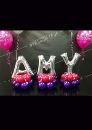 Mini Silver 3 Letter Balloon Centrepiece Set