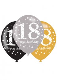 Black and Gold 18th Birthday Party Balloons Pk6