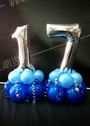 Mini 17th Silver Number Balloon Centrepiece Set