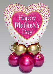 Bright Pink Mothers Day Inflated Heart Balloon Centrepiece