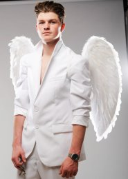 Mens Large White Feather Angel Wings