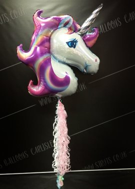 Inflated Pastel Unicorn Balloon With Tail