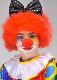 Circus Clown Red Curly Pop Wig
