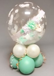 Mint Green Baby Shower Sash Feather Bubble Balloon Centrepiece