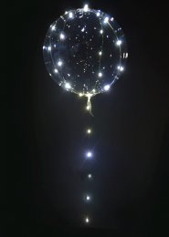 Inflated Clear Helium light up Balloon with White LED Lights
