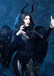 Womens Deluxe Maleficent Style Catsuit Costume