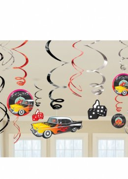 50's Swirls Party Decorations Pk12