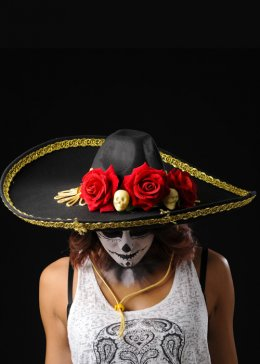Adult Black Day of The Dead Sombrero Hat