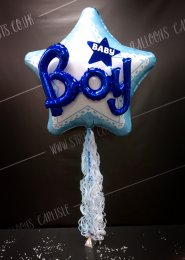 Inflated Jumbo Baby Boy 3D Foil With Balloon Tail