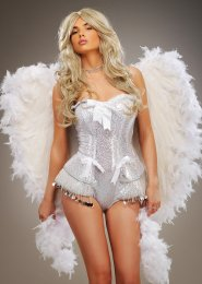 Deluxe Sparkle Large White Feather Angel Wings