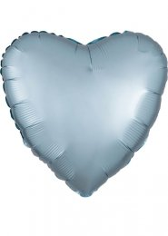 Inflated Pastel Blue Satin Luxe Heart Helium Balloon