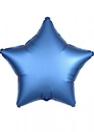 Inflated Azure Blue Satin Luxe Star Helium Balloon