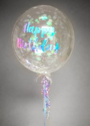 Iridescent Happy Birthday Confetti Filled Bubble Balloon