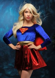Ladies Petite Size Superhero Supergirl Costume