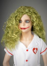 Kids The Joker Style Girls Messy Long Green Wig