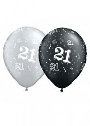 Black and Silver 21st Birthday Party Balloons Pk5