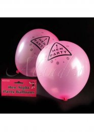 Bright Neon Pink Hen Night Party Balloons Pk12