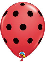 Red and Black Polka Dot Party Balloons Pack 5