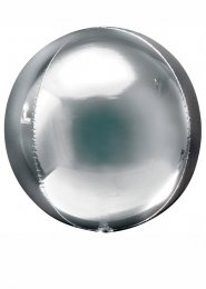 Inflated Metallic Silver Orbz Sphere Helium Balloon