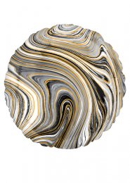 Inflated Black and White Marble Foil Helium Balloon