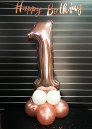 Rose Gold Number 1 Balloon Centrepiece
