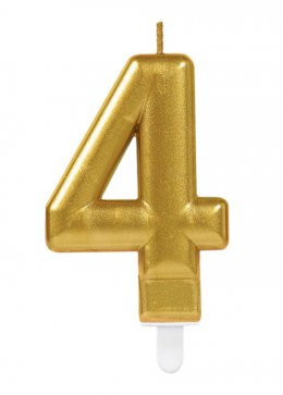 Gold Number 4 Birthday Cake Candle