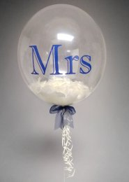 Navy And Ivory Mrs Wedding Feather Filled Deco Bubble Balloon