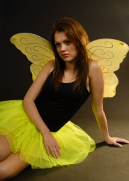 Lemon Yellow Glitter Butterfly Fairy Wings