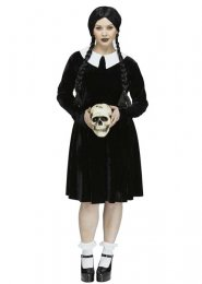 Womens Plus Size Wednesday Addams Style Gothic Girl Costume