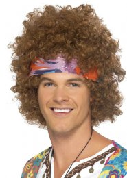 Brown 70s Hippy Afro Wig with Headscarf
