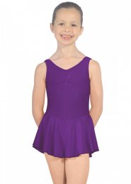 Purple Sleeveless Junior Dance Leotard with Skirt
