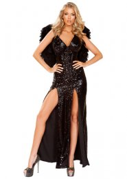Womens Deluxe Sequin Corset Black Fallen Angel Costume