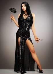 Womens Deluxe Black Sequin Morticia Style Costume