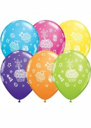 Cupcakes and Presents Childrens Birthday Party Balloons Pack 6