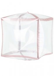 Inflated Transparent Cube Rose Gold Trim Helium Balloon