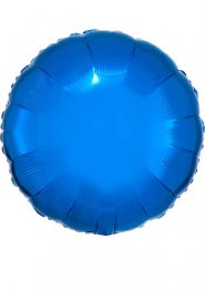 Inflated Metallic Blue Circle Shaped Helium Balloon