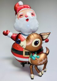 Personalised Large Santa and Reindeer Airwalker Helium Balloon