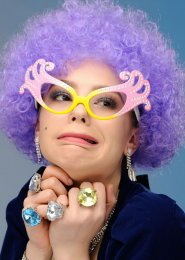 Purple Dame Edna Style Curly Pop Wig