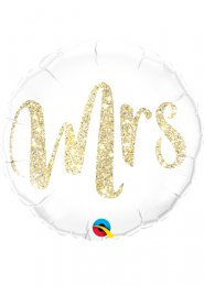 Inflated Gold Glitter Mrs Wedding Helium Balloon
