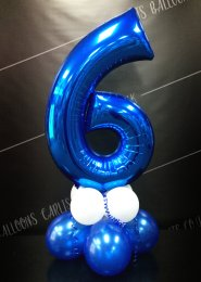 Metallic Blue Number 6 Balloon Centrepiece
