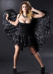 Extra Large Black Feather Angel Wings